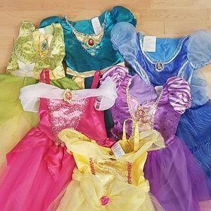 Lot of 6 Disney Princess Pretend Play Dresses 4-6x